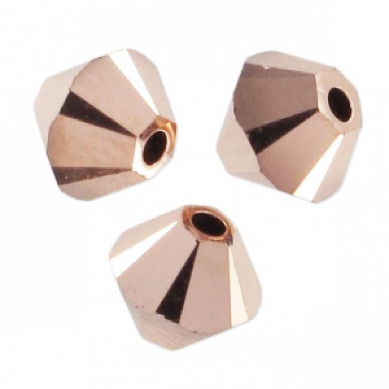 Swarovski crystal 3mm bicone, Crystal Rose Gold 2X, 10 stk-30
