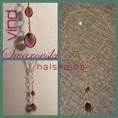 Swarovsi halskæde, guld med lilla krystaller-20