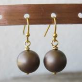 Øreringe frostet brun crystal pearl, guld-20