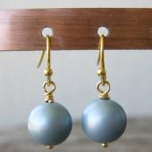 Øreringe frostet lys blå crystal pearl, guld-20