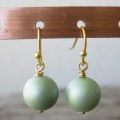 Øreringe frostet lys grøn crystal pearl, guld-20