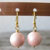 Øreringe frostet pudder farvet crystal pearl, guld-20
