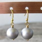 Øreringe frostet sølv farvede crystal pearl, guld-20
