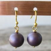 Øreringe frostet mørk lilla crystal pearl, guld-20