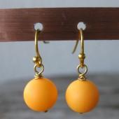 Øreringe frostet orange crystal pearl, guld-20