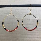 hoops øreringe rød og guld