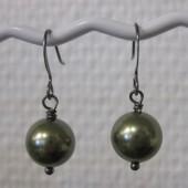 Øreringe, metallic grøn crystal pearl, gunmetal-20