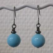 Øreringe, mint blå crystal pearl, gunmetal-20