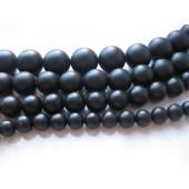14mm perler af mat sort agat