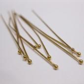 50mm forgyldte perlestave med 1,5mm hovede, 10 stk-20