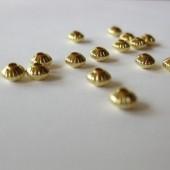 5x3mm forgyldte rillede mellemleds perler, 20 stk-20