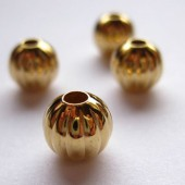 8mm forgyldte rillede perler, 4 stk-20