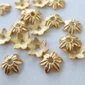 10mm guldbelagte blomster perleskåle-20