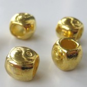 8x9mm forgyldte perler m. stort hul, 4stk-20