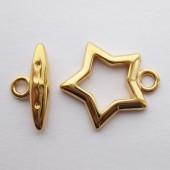 Stjerne bidsel lås, guldbelagt-20