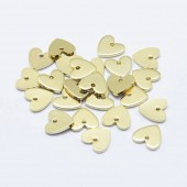 Vedhæng, hjerter, ægte guldbelagte, 8x8mm, 10 stk-20