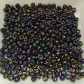 8/0 Glas seed beads, peacock blå 2-3mm, 10g-20