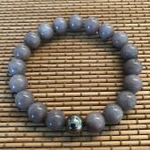 herre armbånd grå-lilla perler