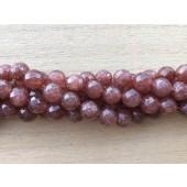 8mm facetslebne rubin kvarts perler