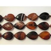 Kinesisk stribet agat, sorte og sorte facetslebne dråber 22x30mm-20