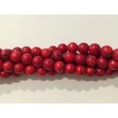 Rød syntetisk turkis, rund 8mm-20