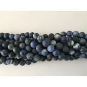 10mm matte perler sodalit