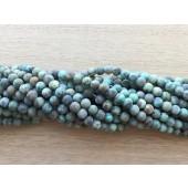 4mm mat afrikansk turkis perler