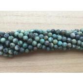 6mm mat afrikansk turkis perler