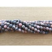 6mm frostet rhodonite perler