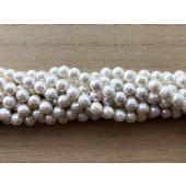 6mm facetslebne hvide perler