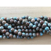 8mm runde perler brun og turkis
