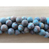 14mm matte runde perler brun og turkis