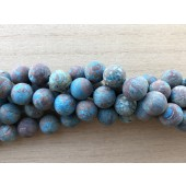 12mm matte runde perler brun og turkis