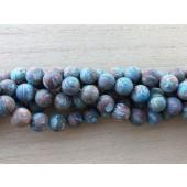10mm matte runde perler brun og turkis