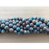 8mm matte runde perler brun og turkis