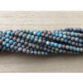 3mm matte runde perler turkis og brun