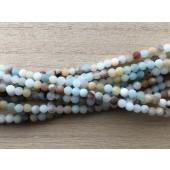 4mm matte amazonit perler