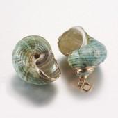 shell vedhæng med guld