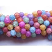 Farvet krakkeleret krystal, mat rund 12mm, hel streng-20