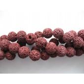 Farvet lava, mulberry, rund 12mm-20