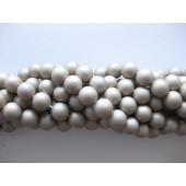Frosted shell pearl, brun 10mm-20