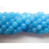 8mm facetslebet blå jade perler