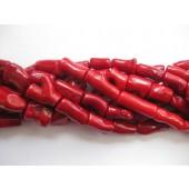 """Rød koral, gennemborede """"branches"""" 27mm-20"""