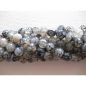 Krakkeleret grå agat, facetslebet rund 10mm-20