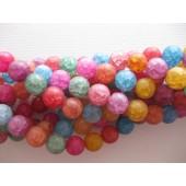 Farvet krakkeleret krystal, mat rund 10mm-20