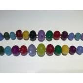 Farvet jade, facetslebne graduerede rondeller-20