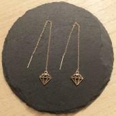 kæde øreringe med diamant vedhæng