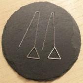 sølv kæde øreringe med trekanter