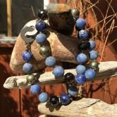 Halskæde, mat lapis lazuli, sodalit, pyrit mm-20