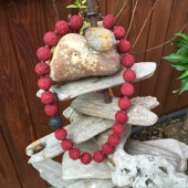 Halskæde, farvet rød lavasten-20